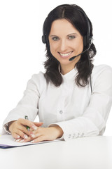 portrait of young smiling brunette call-center customer's suppor