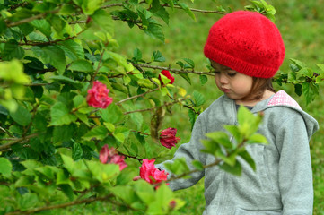 Little girl and red flower