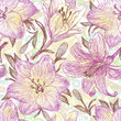 Beautiful hand drawn pattern with lilies