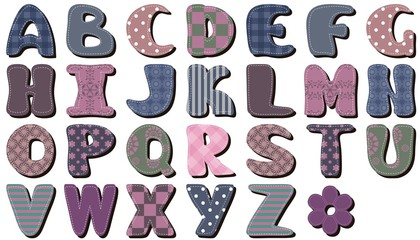 different textile scrapbook alphabet on white background