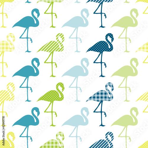 Blue/Green Flamingos Pattern Seamless Pattern - 42849718