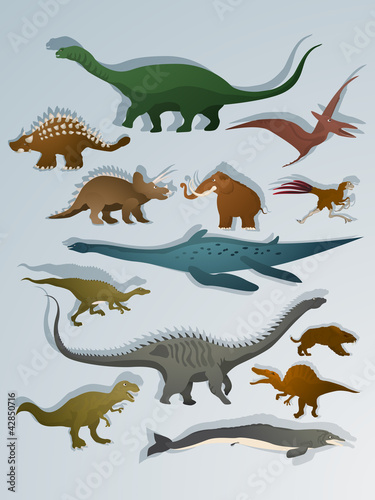 Cartoon style dinosaurs