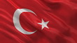 Seamless loop of the Turkish Flag waving in the wind