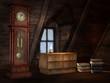 Stare poddasze z zegarem, szafką i książkami