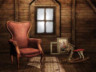 Pokój na poddaszu z fotelem i koniem bujanym