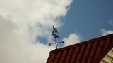 Weather vane on the roof against a sky