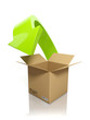 3d illustration: Downloading content. A cardboard box and an arr