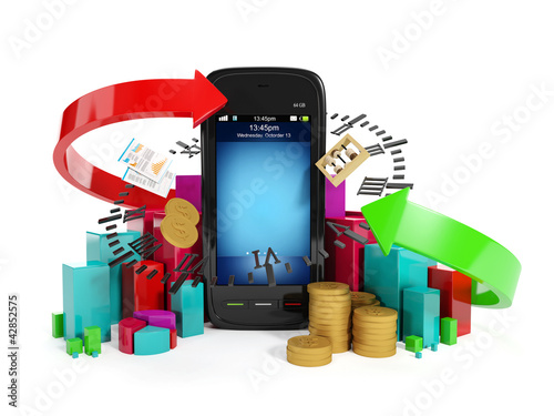 3ä illustration: Mobile technology business. Graphics business m