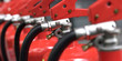 fire extinguishers close-up 3d rendering