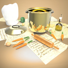 Mesa con Olla y Gorro Cocinero