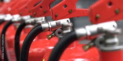 Leinwanddruck Bild fire extinguishers close-up 3d rendering