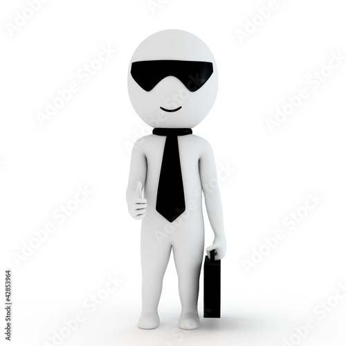3d human business man with briefcase in white background