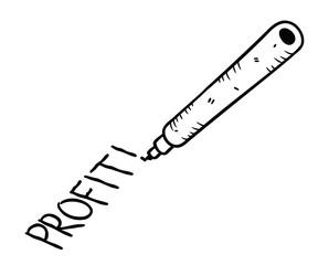 """profit"" hand writing"