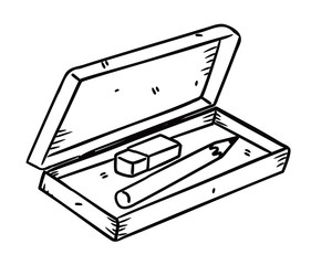 pencil and eraser with box in doodle style