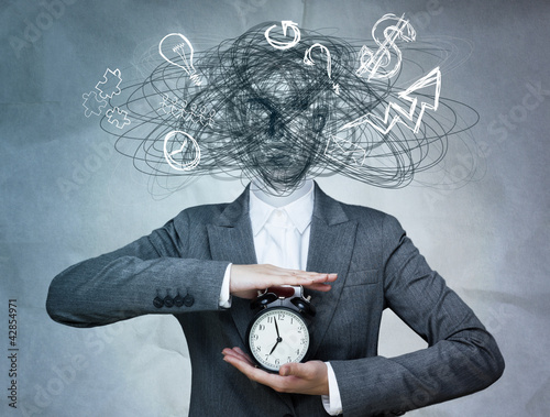 Conceptual image of business woman without head and daily routin