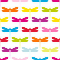 Seamless Pattern Colorful Dragonflies
