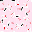 Seamless Pattern Stork With Baby Girl Pink Stripes