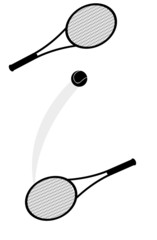 Silhouette of a two tennis rackets and a ball