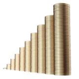 revenue growth in the form of piles of golden coins poster