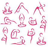 big set of yoga symbols