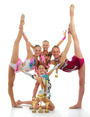 Group of beautiful young gymnast