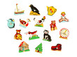 Pieces of an antique wooden puzzle for children