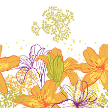 Belle seamless pattern de fleurs de lys, illustration vectorielle.