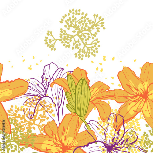 Beautiful seamless pattern with lilies  vector illustration.