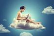Leinwanddruck Bild - Woman working on a Cloud