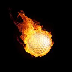 Golfball in Flammen 3D