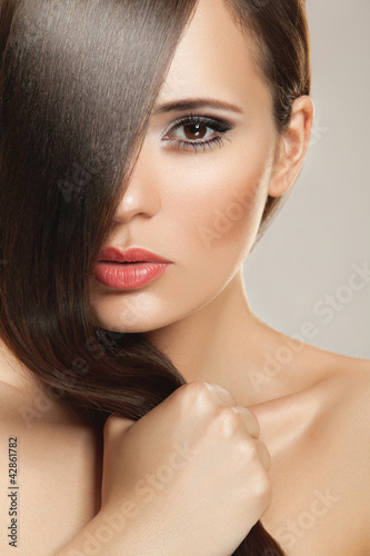 canvas print picture Beautiful Woman with Healthy Long Hair