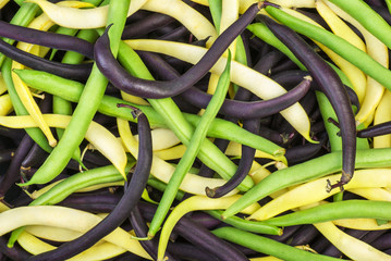 Abstract background: mix of green, yellow and black wax beans