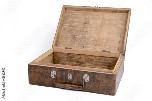 Old wooden box open and empty