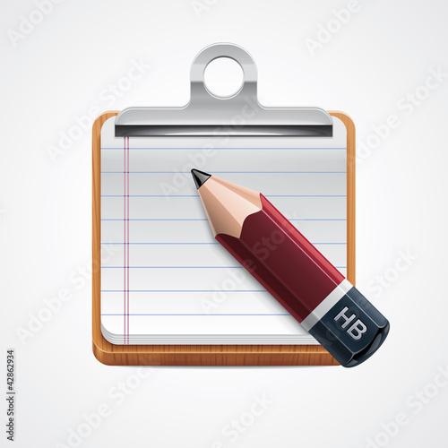 Vector clipboard and pencil icon