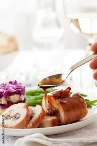 Christmas main course meat casserole