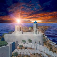 Greece style building with sunrise