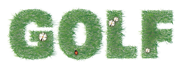 Text grassy golf