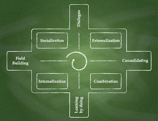 Knowledge Spiral. Cycle of knowledge process diagram