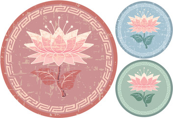 Oriental Lotus Pattern - Grunge is Removable