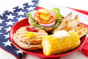 Patriotic American Turkey Burger