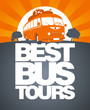 Best bus tours design template with retro bus. - 42867126