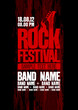canvas print picture - Rock festival design template with bass guitar.