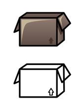 Ouvrir icônes de la boîte isolé sur fond blanc. Illustration Croquis