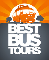 Best bus tours design template with retro bus.
