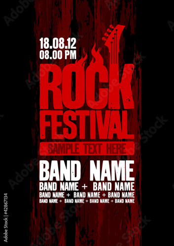Rock festival design template with bass guitar. - 42867134