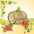 Wine barrel with red grapes
