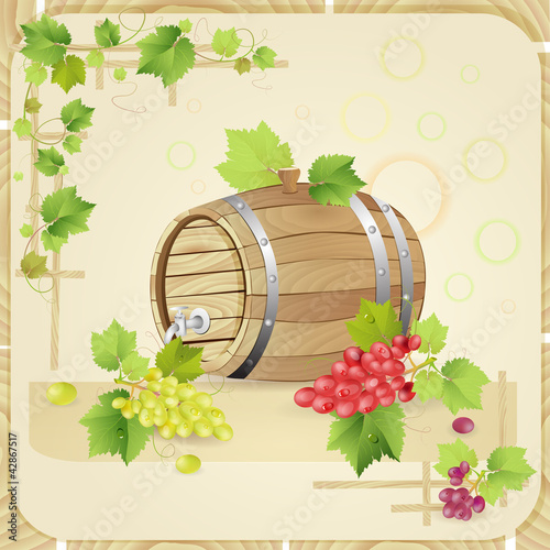 Wine barrel with  grapes