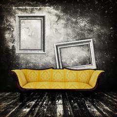 Sofa in an interior grunge