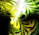 Imagination green floral background poster