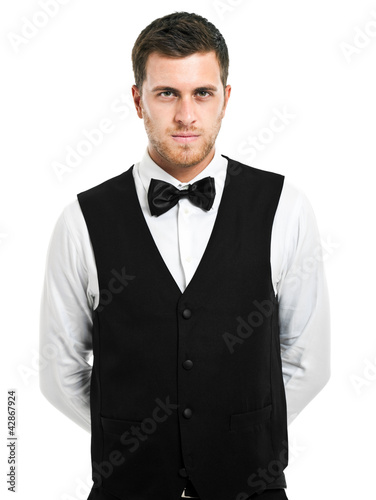 Handsome waiter isolated on white